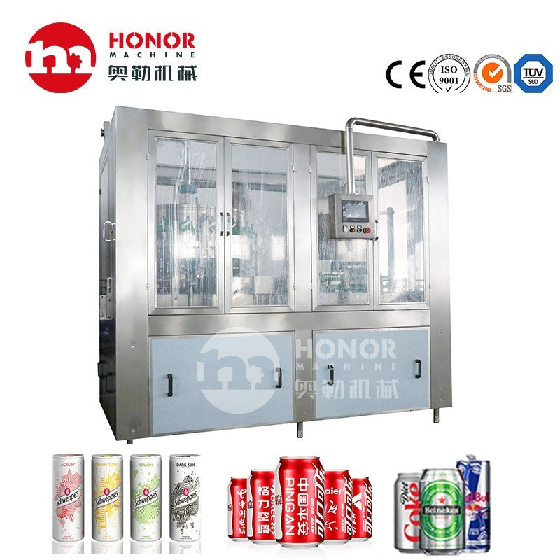 2000-4000CPH 200ml/330ml/600ml Carbonated Gas Drink Beer Juice Energy Drink Cans Filling and Sealing Machine