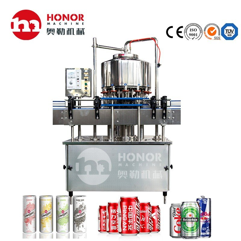 Fully Automatic 250ml/330ml Small Size Aluminum Pet Can Juice Water Soft Drink Beverage Filling Sealing Labeling Washing Blow Packing/Packaging/Making Machine